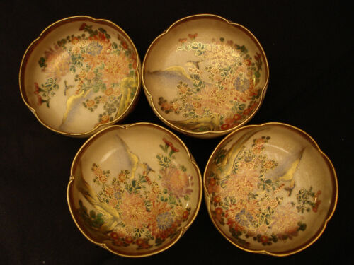 "3 1/2"" D MARKED Satsuma JAPANESE MEIJI SATSUMA LOBED MINIATURE BOWL SET / 4"