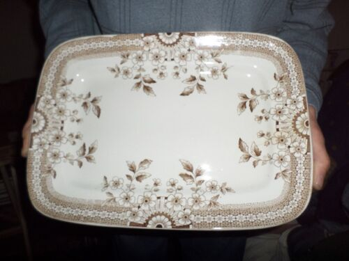 "Antique Foley A F & Co 14"" PLATTER Brown Aesthetic Staffordshire Crown #20"