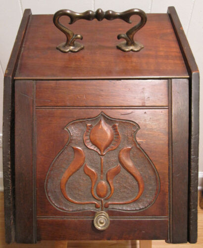 ANTIQUE VICTORIAN AMERICAN FOLK ART FLORAL TINDER KINDLING WOOD BOX NICE PATINA