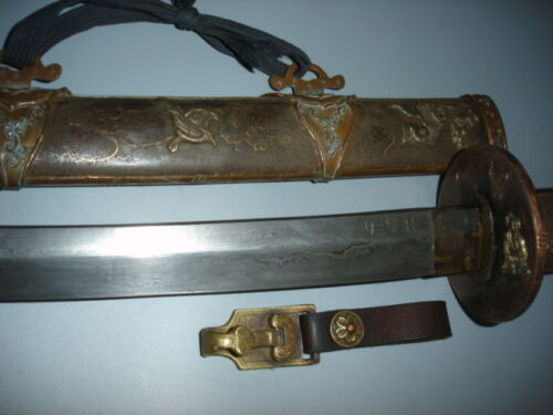 Collectable Antique Japanese Samurai Old Sword KATANA Sword Signed+SWORD BUCKLE