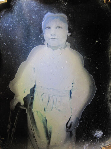 ANTIQUE AMERICAN AMBROTYPE BOY GHOST PARANORMAL LOOK HAUNTING VICTORIAN PHOTO