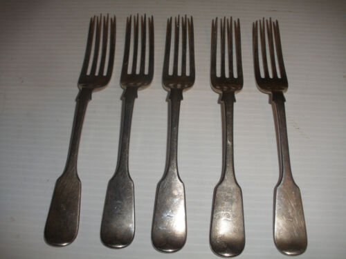 set of 5 Antique English Elizabeth Eaton London Sterling Silver Forks 1848