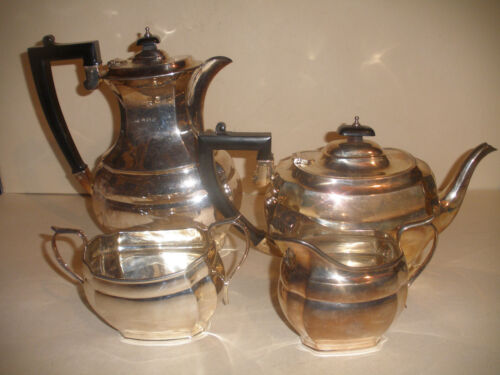 VINTAGE ENGLISH 4 PIECES ART DECO STERLING SILVER TEA SET TEAPOT SUGAR CREAMER