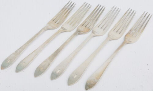 6 Tiffany & Co. Lot Of Sterling Silver Monogrammed Fork Set Faneuil Pattern