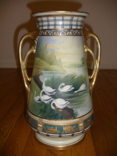 Antique Nippon large porcelain hand painted with landscape and swans large vase