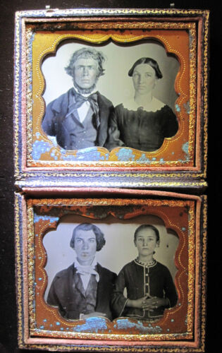 ANTIQUE AMERICAN BEAUTY FAMILY AMBROTYPE PHOTOS MOTHER FATHER SON DAUGHTER HOME