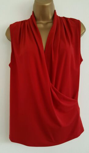 NEW T.M.Lewin RRP £45 Drape Front Wrap Top Blouse Red Evening Formal Smart 6-18