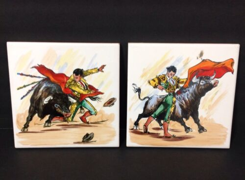 Matador Bull Fighter Toro Hand Painted Ceramic Tile Trivet Spain España Set of 2