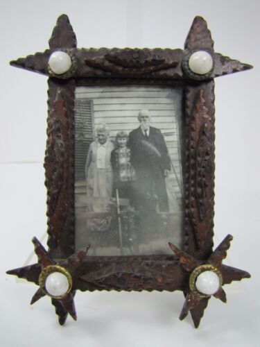 Old Tramp Art Wooden Frame miniature hand carved folk art tiered lwr stars brass