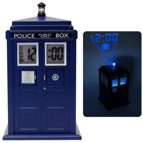 NEW IN BOX Dr Doctor Who Blue TARDIS Projection Alarm Digital Clock