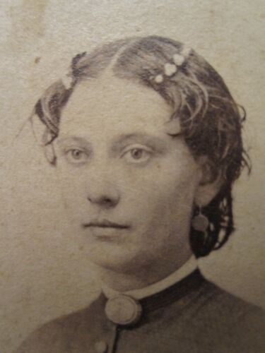 AMERICAN VICTORIAN WET HAIRSTYLE 2 CENT PLAYING CARD STAMP NORWICH NY CDV PHOTO