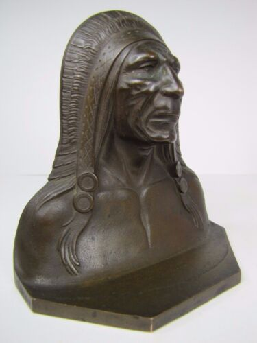 Antique Indian Chief Bronze Brass Decorative Art Bookend Doorstop made in USA
