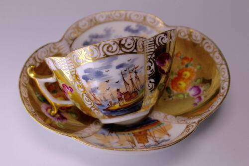 Augustus Rex Early Meissen Yellow Hand Painted Porcelain Quatrefoil Cup & Saucer