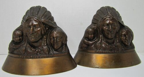 Antique Indian Family Bookends cast brass bronze Chief Squaw Child ornate heavy