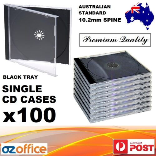 100 x Jewel CD Case Standard Size Black CD Case with Tray Single CD Cases