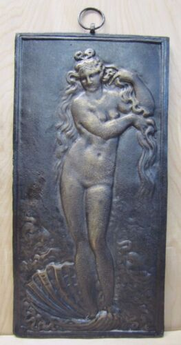 Vtg Cast Iron Beautiful Nude Maiden Seashell Waves Art Nouveau Style Art Plaque