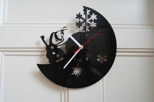 Frozen design wall clock, made from black plexiglass [*L-1] home art office