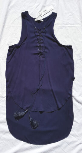 BNWT Lily Whyt Size 10 Top Tank Singlet Lace Up Tassels Navy Blue Rope Long