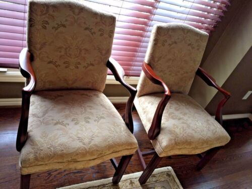Chippendale Antique Chairs W/Custom Upholstered Fabric Quantity -Two