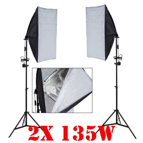 2x 135W Photography Studio Soft Box Continuous Lighting Softbox Light Stand Kit