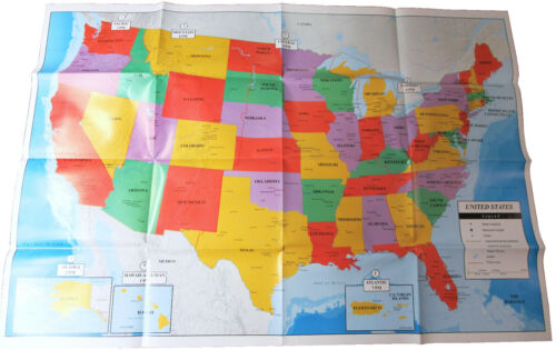 "Poster Size Wall Map of the United States of America 40"" X 28"" Teaching Tree BFR"