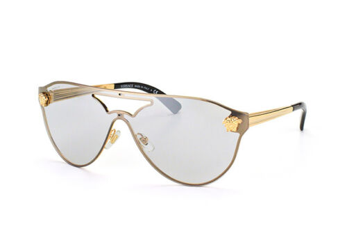 a616a946e5 NEW Authentic VERSACE Rock Icons Gold Shield Aviator Sunglasses VE 2161  1002 6G