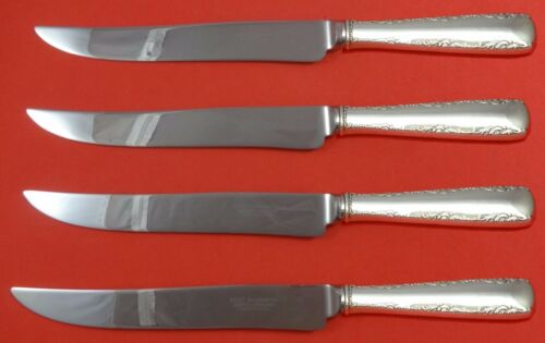 Camellia by Gorham Sterling Silver Steak Knife Set 4pc Large Texas Sized Custom