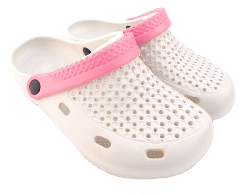 Clogs Beach Wear, Leisure Shoes, Casual, Lightweight Shoe UK Size 6 White/Pink