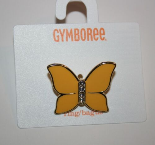 New Gymboree Yellow Gem Butterfly Adjustable Ring NWT Yellow & Black Line