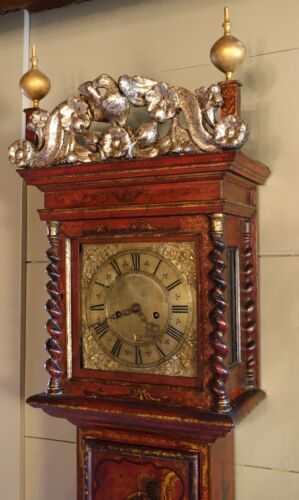 17th or 18th C. English William and Mary Japanned Tall Case Grandfather Clock