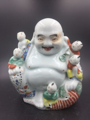 A Chinese Famille Rose Porcelain Sitting Buddha 1930 With Five Boys