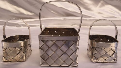 """MAGNIFICENT 3 PIECE CARTIER FRENCH HAND MADE STERLING SILVER BASKETS """"MUST SEE"""""""