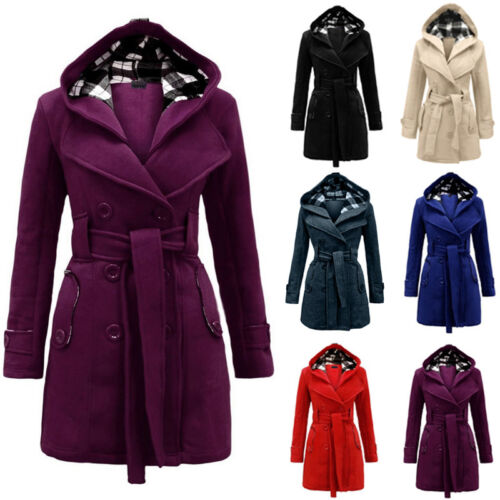 Winter Women' Warm Hooded Long Jacket Coat Outwear Parka Tops Overcoat Pea Coat