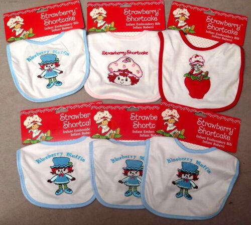 Set of 3 Cloth Strawberry Shortcake Bibs (3) different) or (3) the same NEW