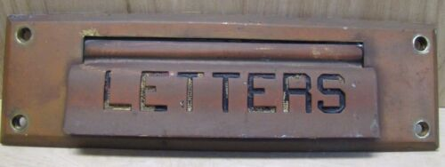 Antique Brass LETTERS Hinged Mail Slot bevel edge old architectural hardware