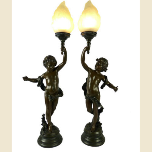 PAIR OF TWO TONE BROWN CHERUB TABLE LAMP LIGHTS  - WILL SHIP AUSTRALIA WIDE