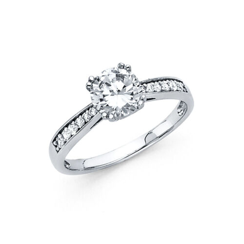 Diamond Engagement Ring 14k Solid White Gold 1.50 ct Round Cut