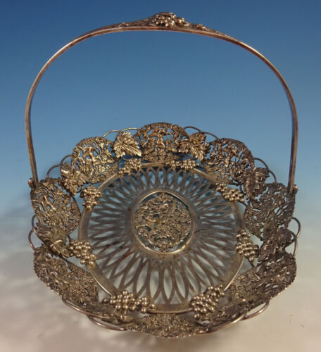 Theodore Starr Sterling Silver Basket with Cherubs and Grapes #2296 (#1326)
