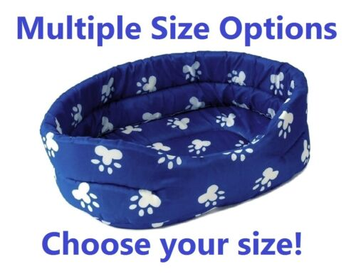 Blue Soft PET BED w/ White Paw Prints For Dog Cat Puppy Cushion Choose Your Size
