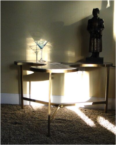 Tripod Table Three Leave Puzzle Danish Modern Real WHITE Marble Top Retro