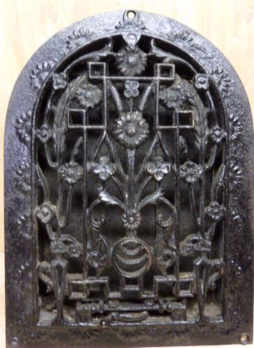Antique Cast Iron Tombstone Floral Grate Vent ornate old architectural hardware