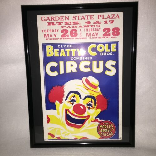 VINTAGE CIRCUS POSTER,BEATTY COLE,PARAMUS,NEW JERSEY,GARDEN STATE PLAZA,CLOWN!!!