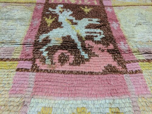 """Dated 1951s Depicted St George&Dragon Transylvania-Romania Rug 3'8""""×5'2"""""""