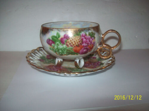 ROYAL SEALY 3 FOOTED TEACUP FRUIT IRIDESCENT  CUP & SAUCER