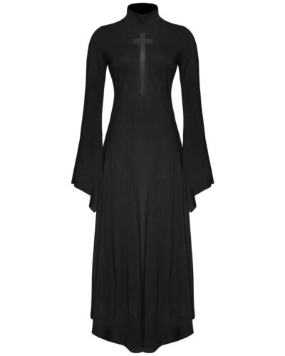 Punk Rave Gothic Cross Maxi Dress Black Witch Occult Long Sleeve Mesh Crucifix