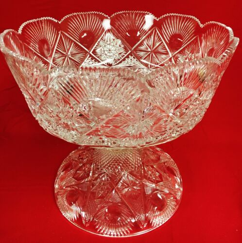 American Brilliant Deep Cut Large One Pc Glass Punch Bowl & Pedestal Stand