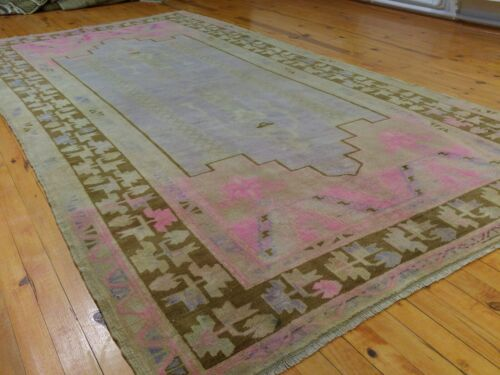 """Rare Antique Cr1900-1939s  Muted Natural Dye Wool Pile Oushak Area Rug 4'7""""×9'"""