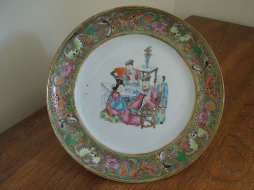 C19TH Antique Chinese Export Porcelain Famille Rose Plate