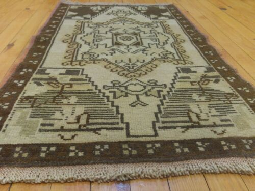 """Bohemian Antique 1900-1939s Muted Natural Dye Oushak Area Rug 1'8""""x3'1"""""""