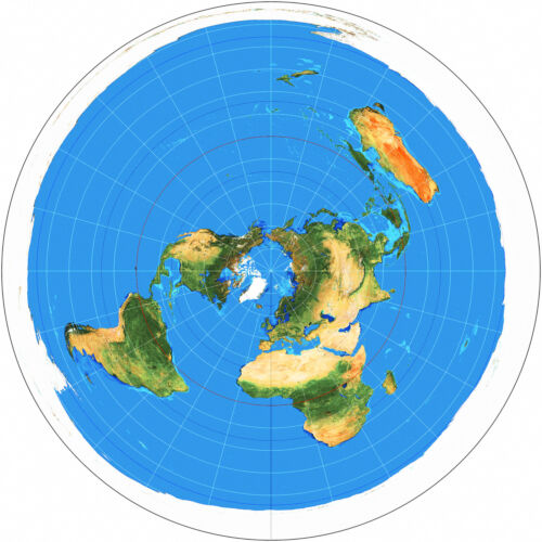 Azimuthal Equidistant Projection Flat Earth Map Zetetic Geo Centric USGS Naval